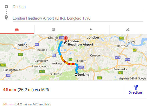 Dorking to heathrow airport approximate time, distance