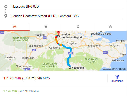 hassocks-to-heathrow-airport-taxi-fare-distance and estimated time
