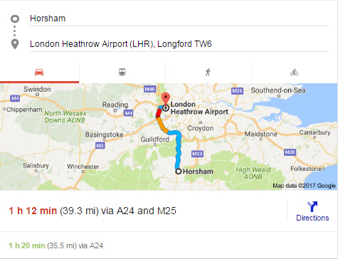horsham to heathrow airport taxi fare distance and estimated time route