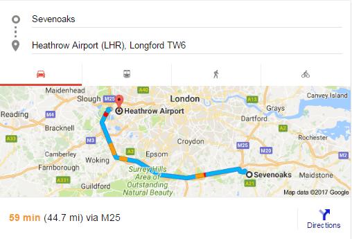 Sevenoaks to Heathrow distance,time , route