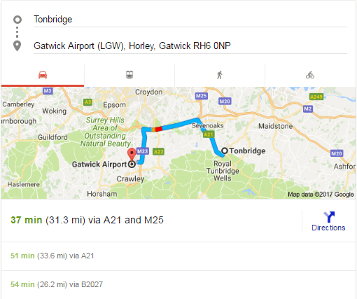 Distance from Tonbridge to Gatwick and Minimum Time