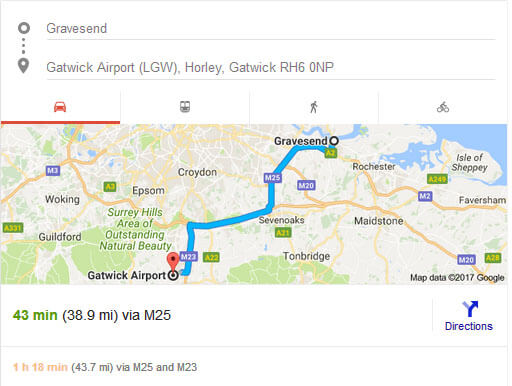 Taxr gravesend to Gatwick Distance , time and Route