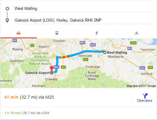 west malling to Gatwick distance ant time