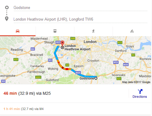 Godstone to Heathrow Airport - Approx distance and time