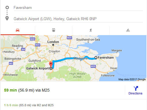Taxi Faversham to Gatwick Distance and Time