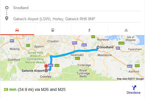 Taxi snodland to Gatwick Distance and Estimated time