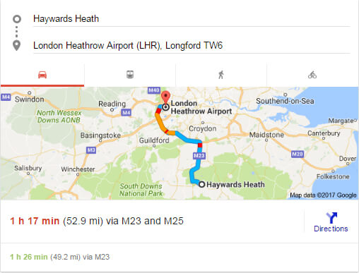 haywords heath to Gatwick Airport distance, time and direction
