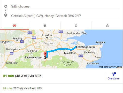 Sittingbourne to Gatwick Airport Distance and Time taken